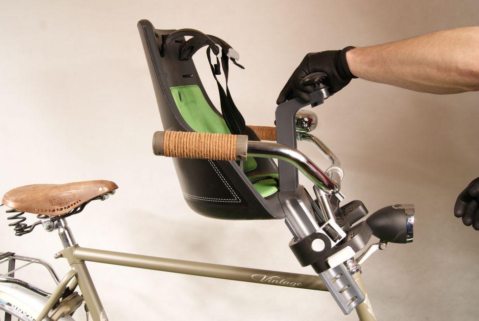 Montaż przedniego fotelika rowerowego Bobike Mini City